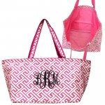 32676-PINK/WHITE 7 POCKET GREEK KEY DESIGN TRAVEL,BEACH OR SHOPPING TOTE