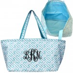32677-AQUA /WHITE 7 POCKET GREEK KEY DESIGN TRAVEL,BEACH OR SHOPPING TOTE