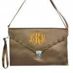 32745 - COPPER LEATHER SCALLOPED CLUTCH BAG