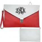 32747 - RED & WHITE LEATHER CLUTCH BAG