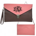 32750 - TAUPE & PINK LEATHER CLUTCH BAG