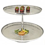3591 - ROUND 2 TIER HAMMERED CUP CAKE OR FRUIT STAND W/ ROUNDED HANDLE