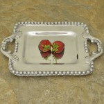 52527-SMALL RECT BEADED TRAY W/HANDLE
