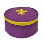 32763 - PURPLE COSMETIC OR JEWELERY BAG /W GOLD FDL