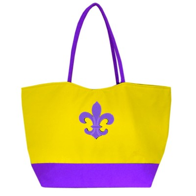 32777- YELLOW SHOPPING OR BEACH BAG /W PURPLE FDL