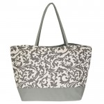 12009- GREY LEAF SHOPPING OR BEACH BAG