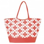 32525-CORAL  QUATREFOIL DESIGN SHOPPING OR BEACH BAG(SMALL)