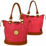F6410-PINK LEATHER FASHION SHOPPING BAG