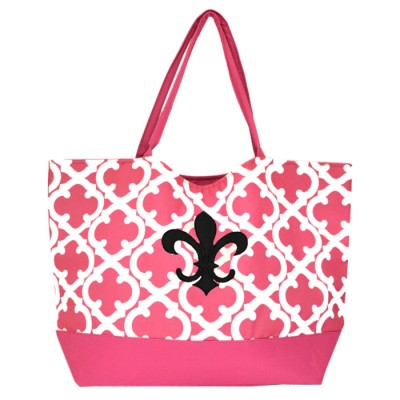 32522-PINK QUATREFOIL DESIGN SHOPPING OR BEACH BAG(SMALL)