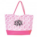 32526 - PINK GREEK KEY DESIGN SHOPPING HANDBAG