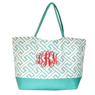32527-AQUA GREEK KEY DESIGN SHOPPING OR BEACH BAG(SMALL)