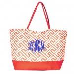 32528 - CORAL GREEK KEY DESIGN SHOPPING HANDBAG