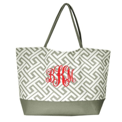 32529-BLACK GREEK KEY DESIGN SHOPPING OR BEACH BAG(SMALL)