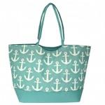 32644-AQUA MULTI ANCOR DESIGN SHOPING BAG/ BEACH BAG