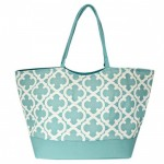32647-AQUA QUATREFOIL DESIGN SHOPPING OR BEACH BAG