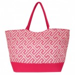 32651-PINK  GREEK KEY DESIGN SHOPPING OR BEACH BAG