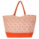 32673-CORAL GREEK KEY DESIGN SHOPPING OR BEACH BAG