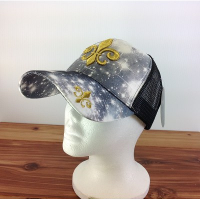 2016 - BK/WH W/GOLD FDL COTTON CAP
