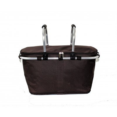 12008- BROWN INSULATED PICNIC BASKET