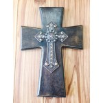 1295-BROWN WOOD CROSS W/STAR COP METAL CROSS W/AMBER STONES