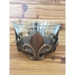 1301 - FLEUR DE LIS GLASS BOWL HOLDER COPPER