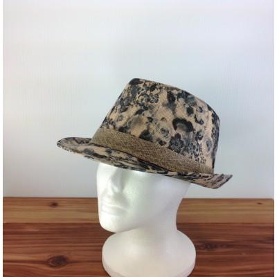 1800 - BLACK-N-BEIGE BLOCKED STRAW HAT