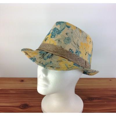 1800 - YELLOW-N-AQUA  BLOCKED STRAW HAT