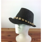1801 - BLACK STRAW BLOCKED HAT W/ BL-N-TAN ROPE BAND