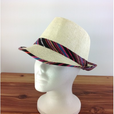 1802 - BLACK & PINK MULTI-N-CREAM PLAID BLOCKED STRAW HAT