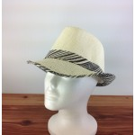 1802 - BLACK-N-CREAM PLAID BLOCKED STRAW HAT