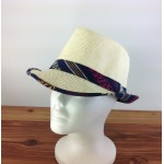 1802 - NAVY&YELLOW-N-CREAM PLAID BLOCKED STRAW HAT