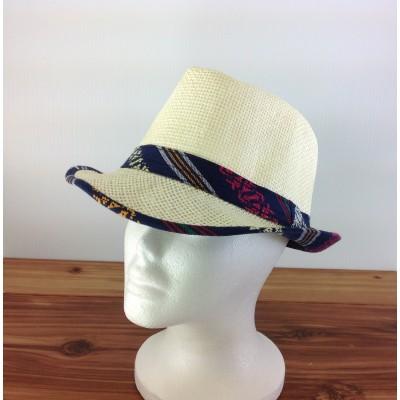 1802 - NAVY&YELLOW-N-CREAM PLAID BLOCKED STRAW HAT