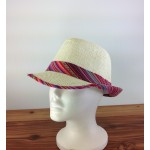 1802 - PINK MULTI-N-CREAM PLAID BLOCKED STRAW HAT