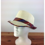 1802 - RED &  BLUE MULTI-N-CREAM PLAID BLOCKED STRAW HAT