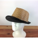 1804 - TAN/BLACK CHEVRON DESIGN STRAW HAT