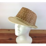 1804 - TAN/BEIGE CHEVRON DESIGN STRAW HAT