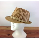 1804 - TAN/TAN CHEVRON DESIGN STRAW HAT