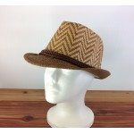 1804 - TAN/BROWN CHEVRON DESIGN STRAW HAT