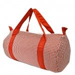 181013-RED/WHITE GINGHAM DUFFLE BAG