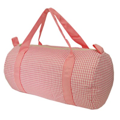181014-PINK/WHITE GINGHAM DUFFLE BAG