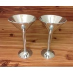 22141 - PEWTER WINE GLASS 2pc set