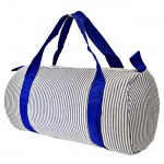 32681-BLUE SEER SUCKER DUFFLE BAG