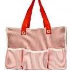 32688-RED SEER SUCKER DIAPER BAG / W 5 POCKETS