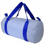 32689-BLUE/WHITE GINGHAM DUFFLE BAG