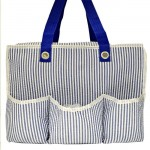 32696-BLUE SEER SUCKER DIAPER BAG / W 5 POCKETS