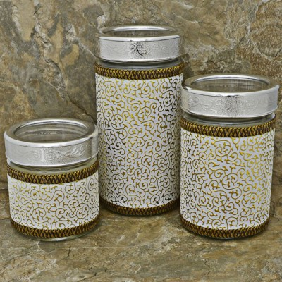 32745-SILVER- 3 PCS JAR SET W/CLEAR SILVER LID