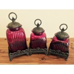 60004FUCHSIA PURP- FUCHSIA PURP CANISTER SET W/COPPER RING TOP (BASE SOLD SEPARATE)