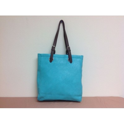 9033 - AQUA  LEATHER SHOPPING BAG