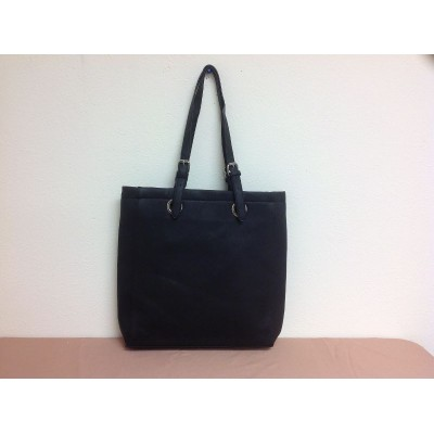 9033 - BLACK  LEATHER SHOPPING BAG