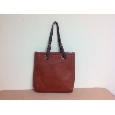 9033 - BROWN  LEATHER SHOPPING BAG